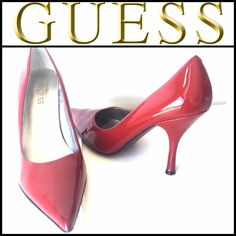 """Huge price dropGuess Patent Leather Red Pumps! Great Condition! Sexy red pointy toe pumps. 3.75"""" heels! Genuine leather! Size 8 1/2. Everyone needs a pair of red heels in their wardrobe  Guess Shoes Heels"""
