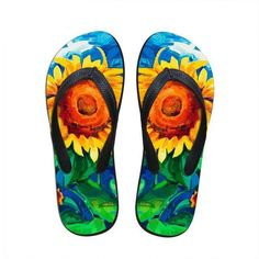 1d79960f643cf Sunflower Printed Slippers Flip Flops Shoes