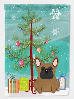 Merry Christmas Tree French Bulldog 2-Sided Garden Flag
