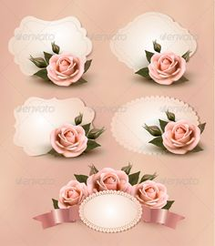 Greeting Cards with Pink Roses Collection