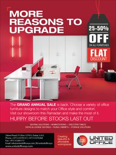 MORE REASONS TO UPGRADE The GRAND SALE is back. Choose a variety of office furniture designs to match your Office style and comfort. Visit our showroom at Zabeel Road this Ramadan and make the most of it.HURRY BEFORE STOCKS LAST OUT. #SEATINGSOLUTIONS ~ #WORKSTATIONS ~ #EXECUTIVETABLES #tables #sofas #lounge #filing #cabinets #storagesolutions www.unitedofficesys.com