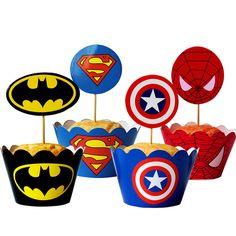 - Super Hero Superman Batman Cupcake Wrapper And Topper Boy Party Decoration & Garden Avengers Birthday, Batman Birthday, Superhero Birthday Party, 4th Birthday Parties, Boy Birthday, Batman Cupcakes, Superman Party, Superhero Superman, Hero Crafts