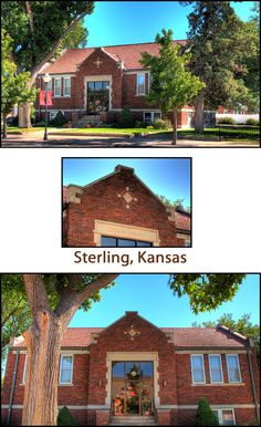 Set in a lovely park, the small library is still in use, and is very well maintained with the surroundings immaculately manicured. Numerous Civil War monuments and sculptures are adjacent to the library. FACTS: Sterling, Kansas (Rice County); Built 1917; Funded $10,000; Latitude: 38.210556; Longitude:  -98.206944