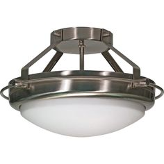 """Polaris 2 Light 14"""" Semi-Flush with Satin Frosted Glass Shades"""