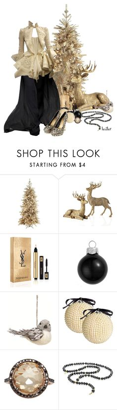 """Cathy's Christmas Closet"" by heather-reaves ❤ liked on Polyvore featuring Pier 1 Imports, Gareth Pugh, Yves Saint Laurent, Creative Co-op, H&M, Suzanne Kalan and ChloBo"