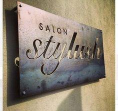 Quick little plasma cut steel sign lampe deco, salon de barbier, salon de b Salon Signs, Beauty Salon Decor, Restaurant Signs, Salon Names, Logo Sign, Plasma Cutting, Business Signs, Family Business, Salon Style