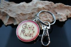 Vintage Art Deco Keychain silver tone  Girls Rule  Charm disk u247 by VintageEstate86 on Etsy