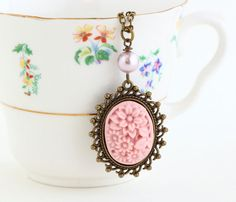 Pink Cameo Necklace