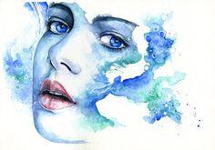 Watercolor Video, Watercolor Paintings, Watercolor Paper, Painting Videos, Painting & Drawing, Drawn Art, Portrait Illustration, Watercolor Portraits, Face Art