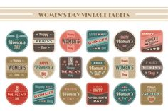 Women's Day Vintage Labels by Rosa Puchalt on Creative Market