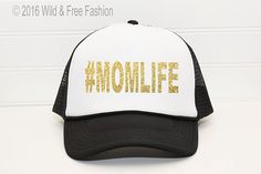 Mom Life Trucker Hat Graphic baseball hat by WildandFreeFashion