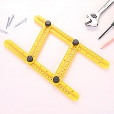 Folding Feet Adjustable Four-sided Ruler All Angle Measuring Tool Angle Measuring Tool, All Angles, Color Yellow, Ruler, Hand Tools, Flexibility, Plastic, Type, Back Walkover