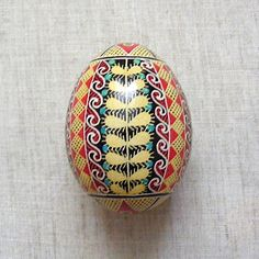 Ukrainian Pysanka Willow Branches Easter Egg Real Chicken Egg Handmade
