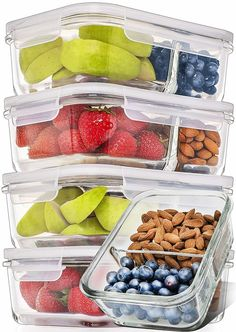 Buy Prep Naturals Glass Meal Prep Containers Glass 2 Compartment 5 Pack - Glass Food Storage Containers - Glass Storage Containers with Lids - Divided Glass Lunch Containers Glass Food Containers 29 Ounce Glass Storage Containers, Glass Food Storage, Dog Food Storage, Meal Prep Containers, Storage Ideas, Kitchen Storage, Diy Storage, Storage Solutions, Cupcake Carrier