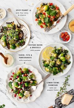 Learn how to make roasted Brussels sprouts for a holiday feast! Four delicious versions, including spicy peanut, shiitake bacon, lemon-thyme, and tahini with pomegranate. All these roasted brussels sprouts are gluten-free with vegan options! Thanksgiving Side Dishes, Thanksgiving Recipes, Vegetarian Thanksgiving, Thanksgiving Holiday, Roasted Vegetable Recipes, Vegetarian Recipes, Healthy Recipes, Vegetarian Casserole, Healthy Side Dishes