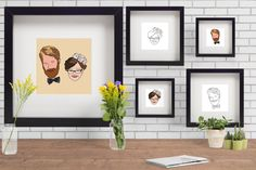 Custom illustrated portrait by campkoodle on Etsy Pet Portraits, Digital Art, My Etsy Shop, Gallery Wall, Pets, Trending Outfits, Unique Jewelry, Frame, Illustration