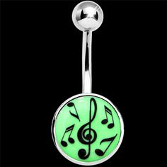 Glow in the Dark Music Notes Belly Ring