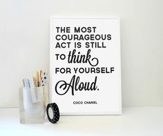 Typography Print Coco Chanel Quote Think for by SacredandProfane, $24.00
