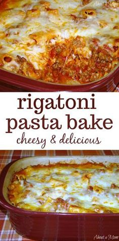 Rigatoni Pasta Bake - Perfect for a Crowd. This Rigatoni Pasta Bake recipe is sure to have your family cleaning their plates. Rigatoni Recipes, Baked Rigatoni, Baked Pasta Recipes, Easy Casserole Recipes, Casserole Dishes, Cooking Recipes, Baked Pasta Dishes, Pasta Recipes For A Crowd, Pasta Casserole