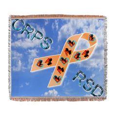 CRPS RSD Fire & Ice Hearts Ribbon b Woven Blanket