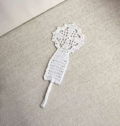 Christian Cross Crochet Lace Bookmark Spiritual by NutmegCottage
