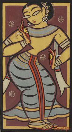 Untitled (Dancing Yogini), by Jamini Roy Worli Painting, Hippie Painting, Madhubani Art, Madhubani Painting, Indian Art Paintings, Modern Art Paintings, Jamini Roy, Bengali Art, Peacock Drawing