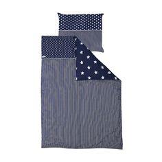 Bettwäsche blau mit weißen Sternen 140x200cm und 80x80cm