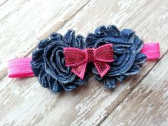 Demin and Pink Sequin Bow Headband  Denim by NataleighsBowtique, $5.95