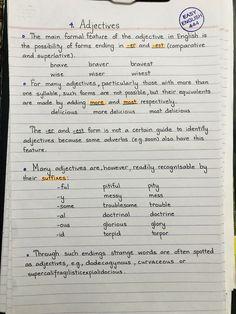 English Grammar Notes, English Adjectives, Teaching English Grammar, English Writing Skills, English Vocabulary Words, English Language Learning, English Words, Parts Of Speech Worksheets, English Learning Spoken