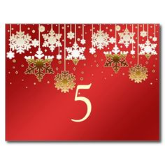Snowflakes on red winter wedding Table number Post Cards