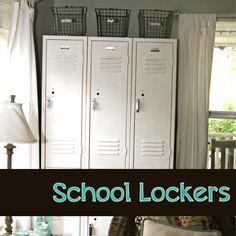 Using vintage lockers to organize the kids' school stuff via The Pennington Point