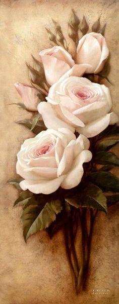 Art painting flowers wonderful style by Igor Levashov roses white