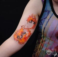 Amazing watercolor fox tattoo by Alberto Cuerva