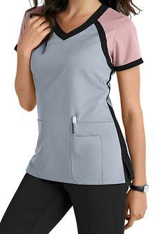 Greys Anatomy 3 Pocket Color Block V-neck Scrub Tops Main Image Más