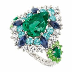 Cher Dior 'Exquise Emeraude' ring in 18k white gold, diamonds, emeralds, Paraiba tourmalines, demantoid garnets and sapphires