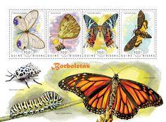 Post stamp Guinea-Bissau GB 14608 aButterflies (Cithaerias Esmeralda, {…}, Acherontia atropos)