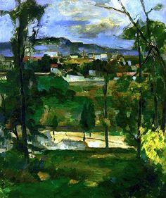 Village behind Trees, Ile de France Paul Cezanne - circa 1879