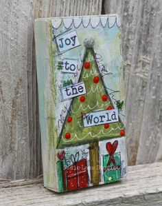 Original Christmas Tree Magnet Mixed Media by SadieLaneStudio