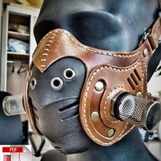Leather Mask, Biker Leather, Leather Diy Crafts, Leather Craft, Steampunk Mask, Mouth Mask Fashion, Apocalyptic Fashion, Half Mask, Cool Masks