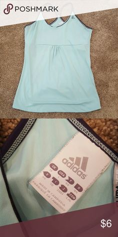 Seafoam and Navy Adidas Tank Seafoam and Navy Adidas Tank with built in bra. Great condition! Adidas Tops Tank Tops