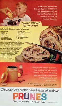1961 California Prunes Ad with Recipe Retro by SnowFireCandleCo