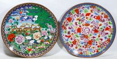 Lot 476: Asian Cloisonne Chargers; Two contemporary round items including one with a deer motif and the other with flowers