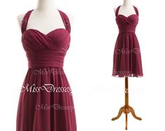 Halter Sweetheart Knee Length Chiffon Wine Red Short Bridesmaid Dresses, Chiffon Cocktail Dresses, Party Dresses, Formal Gown on Etsy, $99.00