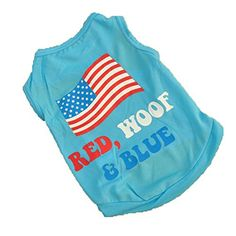 Summer Apparel Puppy dog pet clothes summer the usa flag vest sleeveless dog t-shirts apparel -- You can find more details by visiting the image link.
