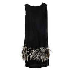 1stdibs | Vintage Black + White Maribou Feather 1960's Cocktail Dress