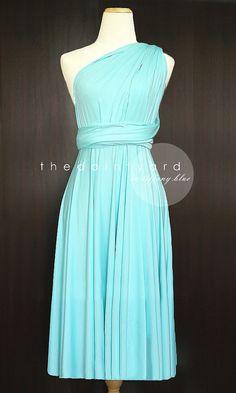 Short Straight Hem Tiffany Blue Bridesmaid Convertible Dress Infinity Dress Multiway Dress Wrap Dress Wedding Dress Pastel