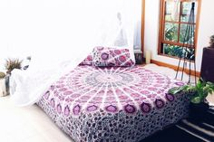 """Tablecloths – Boho Chic Mandala Cotton Tapestry Bedspread 54x84"""" – a unique product by IndianCraftPalace on DaWanda"""