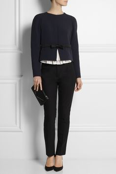 Chloé | Taffeta-trimmed crepe top | NET-A-PORTER.COM I like the idea of opening a cardi at the bottom only.
