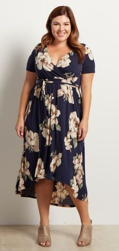 "Plus Size Hi-Low Midi Dress, love the empire-ish waist, very flattering for ""apple"" shape."