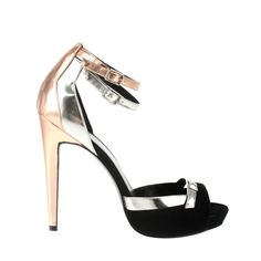 Pierre Hardy Patent Leather and Soft Suede Sandals with Platform Front in Gold | Lyst ♥ ♥ ♥ more metallics - yes please!